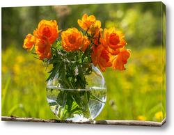 Постер Красивые ,жёлтые цветы в прозрачной вазе