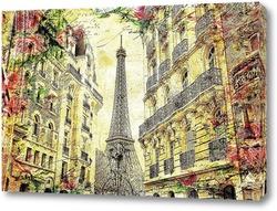 Постер Париж. Эйфелева башня