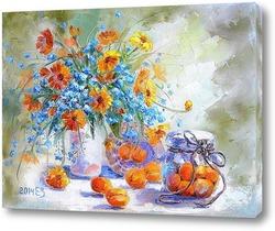 Картина Натюрморт с абрикосами и незабудками