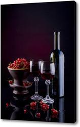 Постер Натюрморт с красной смородиной и красным вином