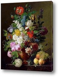 Картина Ваза с цветами, персики и виноград