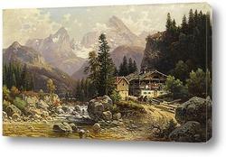 Картина Альпийский пейзаж с мельницей