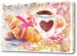 Постер кофе и круассан