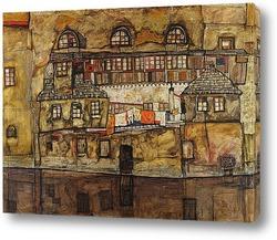 Картина Стена дома на реке