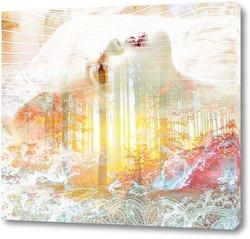 Постер Девушка и лесной закат
