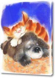 Картина Пёс и кот