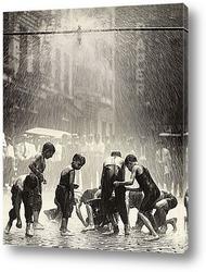 Постер Мальчишки собирающие монеты на улице,Нью-Йорк.