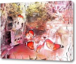 Постер водопад и бабочки