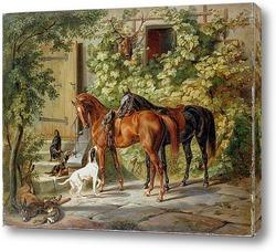 Картина Лошади у крыльца