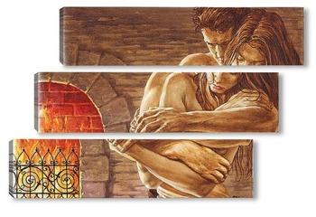 Модульная картина Любовь у камина