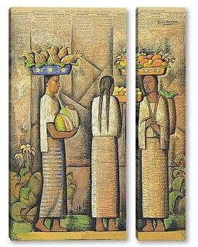 Модульная картина Продавщицы с фруктами