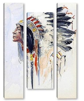 Модульная картина Индейский вожак
