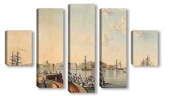 Модульная картина «Вид на стрелку Васильевского острова с Дворцовой набережной»