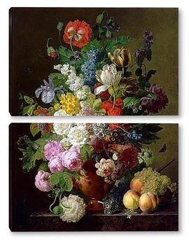 Модульная картина Ваза с цветами, персики и виноград