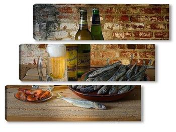 Модульная картина Для любителей пива с креветками и корюшкой