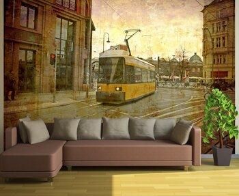 Фотообои Модерновый трамвай в старом городе