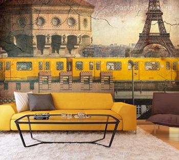 Фотообои Желтый поезд